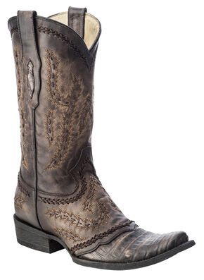 Corral Caiman Cowboy Boots - Square Toe, Brown, hi-res