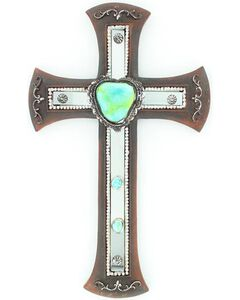 Western Moments Turquoise Stone Mirror Cross Wall Decor, , hi-res