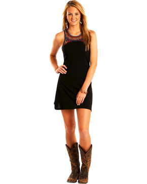 Rock & Roll Cowgirl Women's Embroidered Skater Dress , Black, hi-res