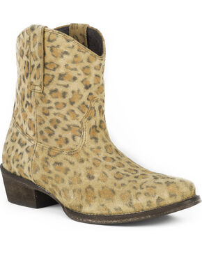 Roper Women's Leopard Print Western Boots - Pointed Toe , Tan, hi-res