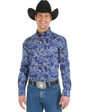 Wrangler George Strait Blue Paisley Western Shirt, Blue, hi-res