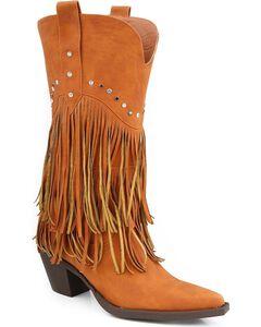 Roper Rhinestone Fringe Cowgirl Boots - Pointed Toe, , hi-res