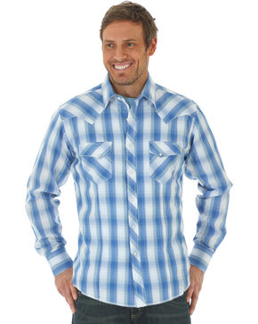 Wrangler Men's Blue Western Fashion Snap Long Sleeve Plaid Shirt , Blue, hi-res