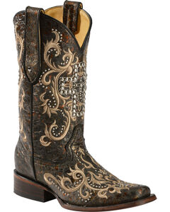 Corral Studded Cross Cowgirl Boots - Square Toe, , hi-res
