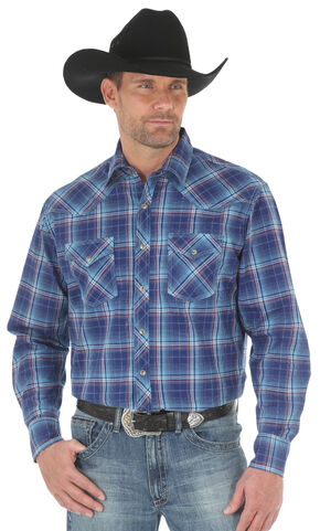 Wrangler 20X Men's Blue Red Competition Advanced Comfort Snap Shirt - Big & Tall, Blue, hi-res