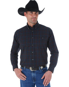 Wrangler George Strait Black, Red, and Blue Small Plaid Western Shirt , , hi-res