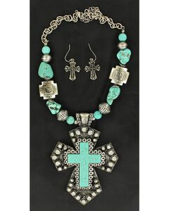 Blazin Roxx Turquoise Stone Large Cross Necklace & Earrings Set, , hi-res