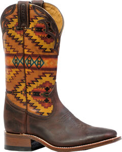 Boulet Laid Back Copper Aztec Cowgirl Boots - Square Toe  , , hi-res