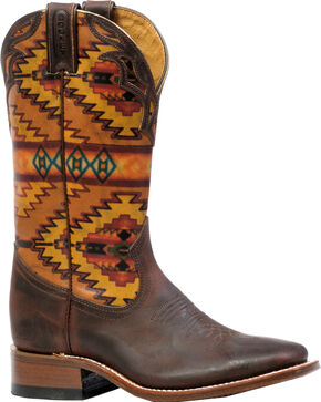 Boulet Laid Back Copper Aztec Cowgirl Boots - Square Toe  , Copper, hi-res