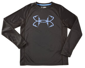 Under Armour Boys' Black Fish Hunter Tech Long Sleeve Shirt , Black, hi-res