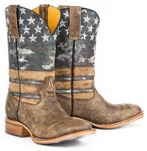 Tin Haul American Flag Dogtag Cowboy Boots - Square Toe, Brown, hi-res