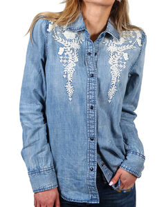 Driftwood Women's Floral Embroidery Chambray Shirt, , hi-res