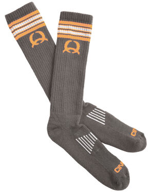 Cinch Men's Grey and Orange Boot Socks, Charcoal Grey, hi-res