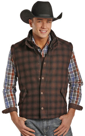 Powder River Outfitters Men's Plaid Oakridge Wool Vest , Plaid, hi-res