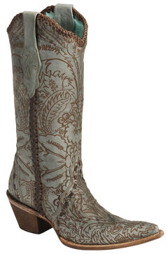 Corral Hand Tooled Turquoise Distressed Cowgirl Boots - Pointed Toe, , hi-res