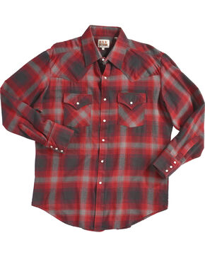 Ely Cattleman Men's Red Western Flannel Shirt - Tall , Red, hi-res