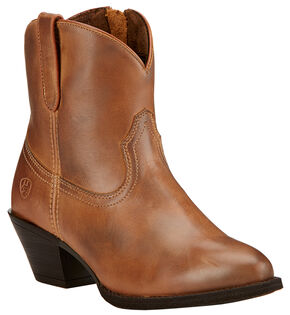 Ariat Women's Brown Darla Booties - Round Toe , Brown, hi-res