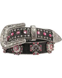 Blazin Roxx Pink Crystal Concho Cross Belt, , hi-res
