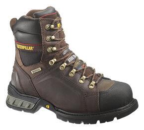 """Caterpillar Men's Excavator 8"""" Waterproof Work Boots - Steel Toe, Dark Brown, hi-res"""