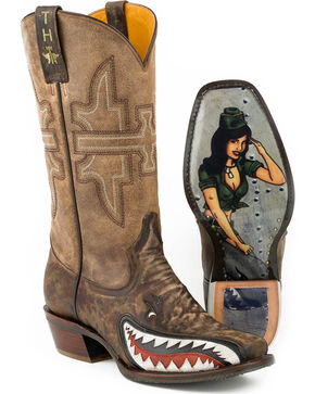 Tin Haul Men's Sharky Bomb Cowboy Boots - Square Toe, Green, hi-res