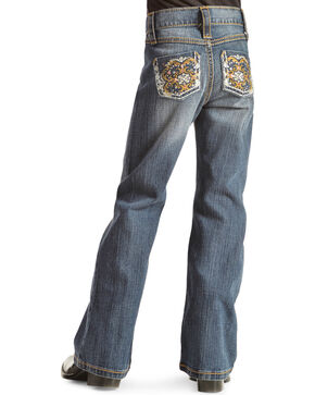Wrangler Rock 47 Girls' Sparkle Pocket Bootcut Jeans - 4-6X, Denim, hi-res