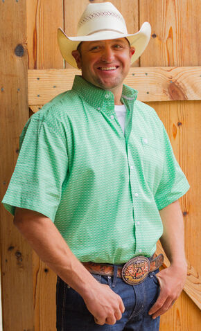 Cinch Men's Green Geo Print Short Sleeve Shirt, Green, hi-res
