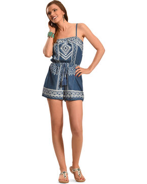 Derek Heart Women's Denim Engineer Print Romper , Denim, hi-res