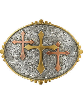Nocona Silver Triple Cross Belt Buckle , Multi, hi-res