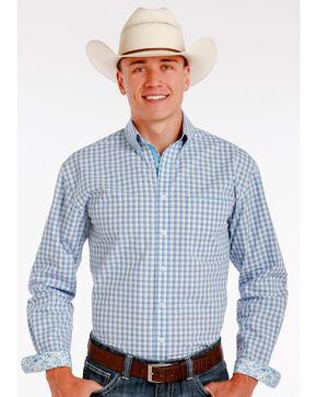 Panhandle Slim Men's Blue Elgin Vintage Dobby Check Print Long Sleeve Shirt , Blue, hi-res