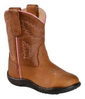 Old West Toddler Girls' Tubbies Light Cowgirl Boots - Round Toe, Light Brown, hi-res