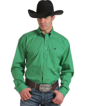 Cinch Men's Green Print Long Sleeve Shirt, Green, hi-res