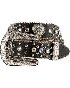 Nocona Girls Heart Concho Leather Belt - 18-26, , hi-res