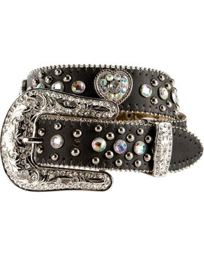 Nocona Girls Heart Concho Leather Belt - 18-26, Black, hi-res