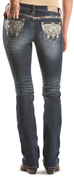 Grace in LA Women's Dark Wash Fancy Pocket Bootcut Jeans , , hi-res