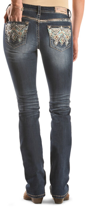 Grace in LA Women's Dark Wash Fancy Pocket Bootcut Jeans , Indigo, hi-res
