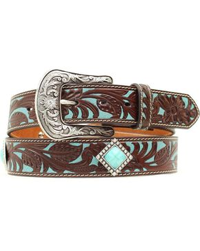 Ariat Turquoise Tooled Concho Belt, Brown, hi-res