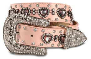 Nocona Girls' Heart Rhinestone Leather Belt - 18-28, Pink, hi-res