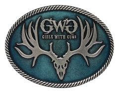 Montana Silversmiths Women's Antiqued Girls with Guns Attitude Buckle , , hi-res