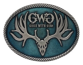 Montana Silversmiths Women's Antiqued Girls with Guns Attitude Buckle , Turquoise, hi-res