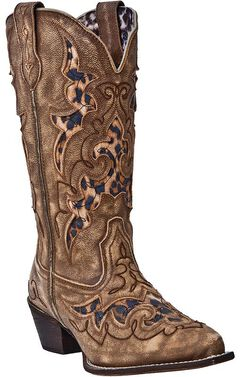 Laredo Leopard Print Leather Inlay Cowgirl Boots - Snip Toe, , hi-res