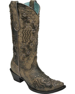 Corral Goat Woven Studded Cowgirl Boots - Snip Toe , , hi-res