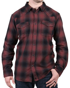 Cody James Men's Washed Out Maroon Plaid Flannel Shirt, , hi-res