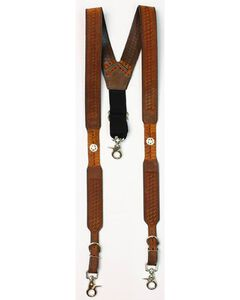 Nocona Embossed Basketweave Star Concho Suspenders, , hi-res