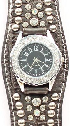 Scalloped Black Croc Print Crystal Watch, , hi-res