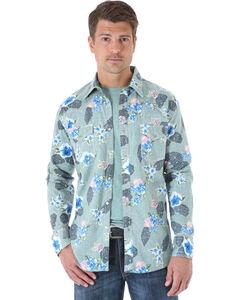 Wrangler 20X Olive Floral Print Western Shirt , , hi-res