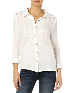 MIss Me Off-White Lace Yoke Button Down Top , , hi-res