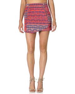 Miss Me Multi-Color Jacquard Front Zip Skirt , , hi-res