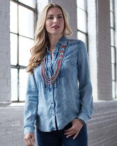 Ryan Michael Women's Tencel Ruffle Indigo Shirt, , hi-res