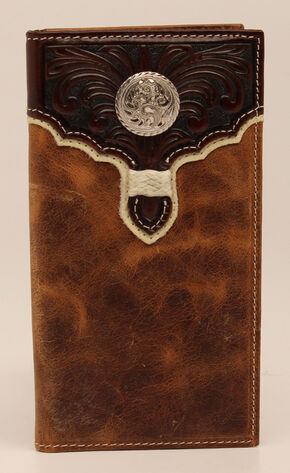 Nocona Rodeo Floral Overlay Concho Wallet, Brown, hi-res