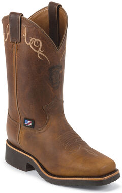 Chippewa Women's Worn Saddle Brown Western Work Boots - Square Toe, , hi-res